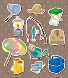 Vissende stickers Stock Foto's