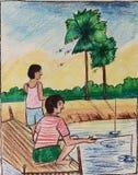Vissende tijd? visser in het meer, dichtbij aan zonsondergang royalty-vrije illustratie
