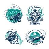 Vissende van de sportclub of reis vector geplaatste pictogrammen royalty-vrije illustratie