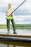 Vissende vrouw royalty-vrije stock foto