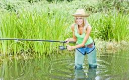 Vissende vrouw royalty-vrije stock afbeeldingen