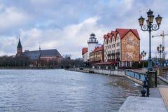 Vissendorp en kathedraal in Kaliningrad Rusland Royalty-vrije Stock Foto