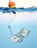 Vissenhaak met een bankbiljet stock illustratie