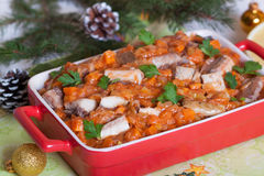 Vissenhutspot met groenten in tomatensaus Royalty-vrije Stock Foto's