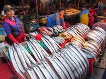 Vissenmarkt in Busan Stock Afbeelding