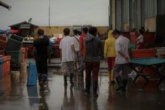 vissenmarkt in Sabah Stock Foto