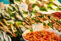 Vissenmarkt - verse zeevruchten Stock Afbeeldingen