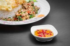 Vissensaus met Thaise Chilis (Prik Nam Pla) Stock Foto