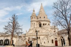 Visser Bastion, Buda Castle in Boedapest, Hongarije Stock Foto's