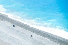Visser bij Hualien-strand stock foto's