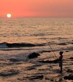 Visser bij zonsondergang Stock Afbeeldingen