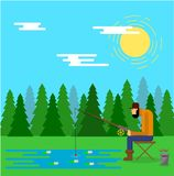 Visser Catching Fish Outdoors in Forest Lake vector illustratie
