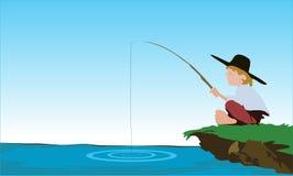 Visser die in de meervector vissen royalty-vrije stock fotografie