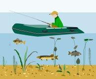Visser die in een boot vlak vectorconcept vissen Stock Foto's