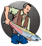 Visser die een zalm steunt vector illustratie
