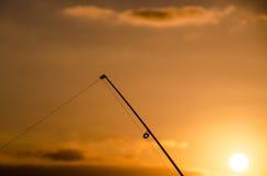 Visser Fishing Rod Silhouette Stock Afbeeldingen