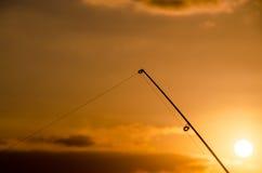 Visser Fishing Rod Silhouette Royalty-vrije Stock Foto