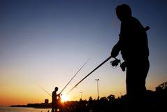 Visser Fishing Rod Silhouette Stock Afbeelding