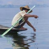 Visser - Inle-Meer - Myanmar Royalty-vrije Stock Foto's