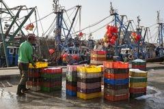 Visser met containers voor verpakkingsvissen in de haven van Essaouira, Marokko Stock Fotografie