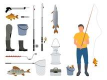 Visser met Staaf en Vangst Vectorillustratie stock illustratie