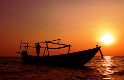 Visser naar huis Sihanoukville die Kambodja komt Royalty-vrije Stock Afbeeldingen