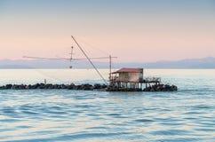 Visser Netto langs het overzees stock fotografie