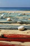 Visser netto op het strand stock fotografie