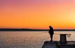 Visser op zonsondergang Royalty-vrije Stock Afbeelding