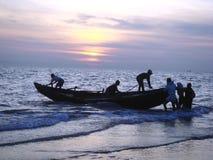 Visserij bij Baai van Bengalen stock afbeelding