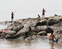 Visserij bij het Strand Stock Afbeeldingen