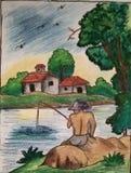 Visserij bij Oever van het meer stock illustratie