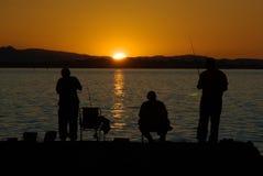 Visserij bij Zonsondergang stock foto
