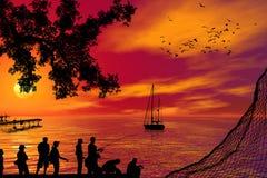 Visserij bij zonsondergang Royalty-vrije Stock Foto's