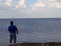 visserij in de recente middag royalty-vrije stock afbeelding