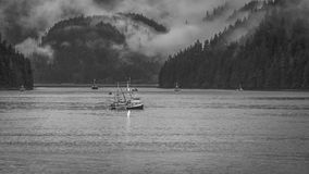 Visserij onder Koningin Charlotte Islands Stock Foto