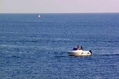 Visserij op de boot stock afbeelding