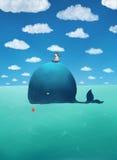 Visserij op een walvis Stock Afbeelding