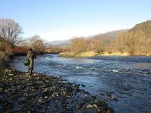 Visserij op rivier stock foto