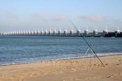 Visserij op strand Stock Afbeelding