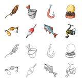 Visserij, vissen, vangst, haak De visserij van vastgestelde inzamelingspictogrammen in beeldverhaal, van de het symboolvoorraad v royalty-vrije illustratie
