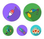 Visserij, vissen, vangst, haak De visserij van vastgestelde inzamelingspictogrammen in het vlakke Web van de de voorraadillustrat royalty-vrije illustratie