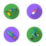 Visserij, vissen, vangst, haak De visserij van vastgestelde inzamelingspictogrammen in het vlakke Web van de de voorraadillustrat vector illustratie