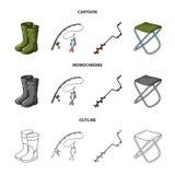 Visserij, vissen, vangst, hengel De visserij van vastgestelde inzamelingspictogrammen in beeldverhaal, overzicht, de zwart-wit vo stock illustratie