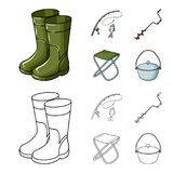 Visserij, vissen, vangst, hengel De visserij van vastgestelde inzamelingspictogrammen in beeldverhaal, vector het symboolvoorraad vector illustratie
