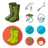 Visserij, vissen, vangst, hengel De visserij van vastgestelde inzamelingspictogrammen in beeldverhaal, vlakke de voorraadillustra vector illustratie