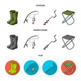 Visserij, vissen, vangst, hengel De visserij van vastgestelde inzamelingspictogrammen in beeldverhaal, de vlakke, zwart-wit voorr royalty-vrije illustratie