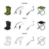 Visserij, vissen, vangst, hengel De visserij van vastgestelde inzamelingspictogrammen in beeldverhaal, zwarte, vector het symbool stock illustratie
