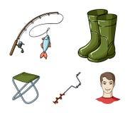 Visserij, vissen, vangst, hengel De visserij van vastgestelde inzamelingspictogrammen in van de het symboolvoorraad van de beeldv royalty-vrije illustratie