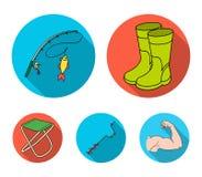 Visserij, vissen, vangst, hengel De visserij van vastgestelde inzamelingspictogrammen in het vlakke Web van de de voorraadillustr stock illustratie